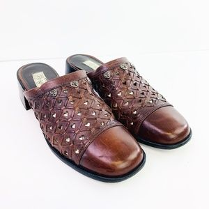 "Brighton Womens ""Fanny"" Brown Woven Clogs Size 9.5"